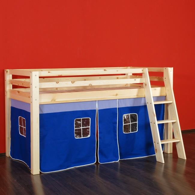 hochbett tommi spielbett kinderbett abenteuerbett mit lattenrost vorhang blau ebay. Black Bedroom Furniture Sets. Home Design Ideas