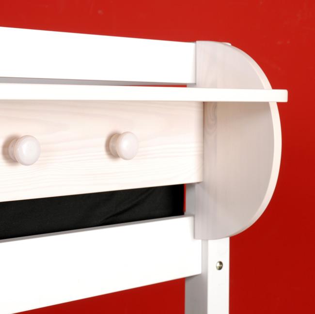 h ngeregal mit vier kleiderhaken wei lasiert f r. Black Bedroom Furniture Sets. Home Design Ideas