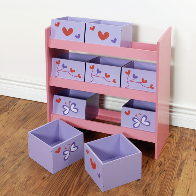 aufbewahrungsregal ordnungssystem mini regal mit 9 k sten k stchen rosa krr ebay. Black Bedroom Furniture Sets. Home Design Ideas